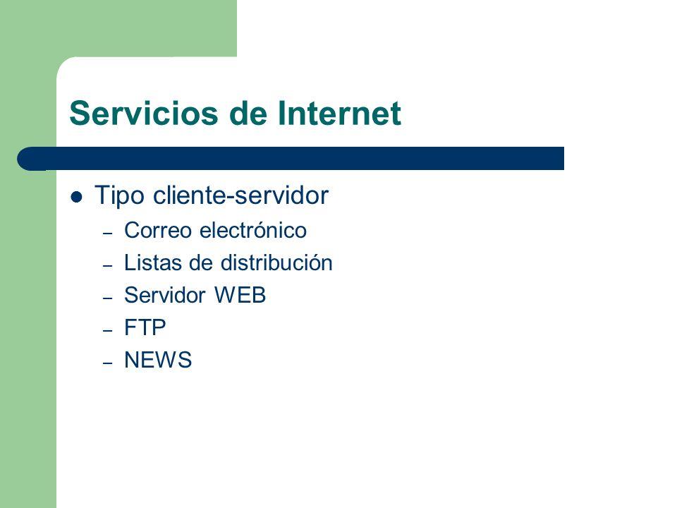 Servicios de Internet Tipo cliente-servidor Correo electrónico
