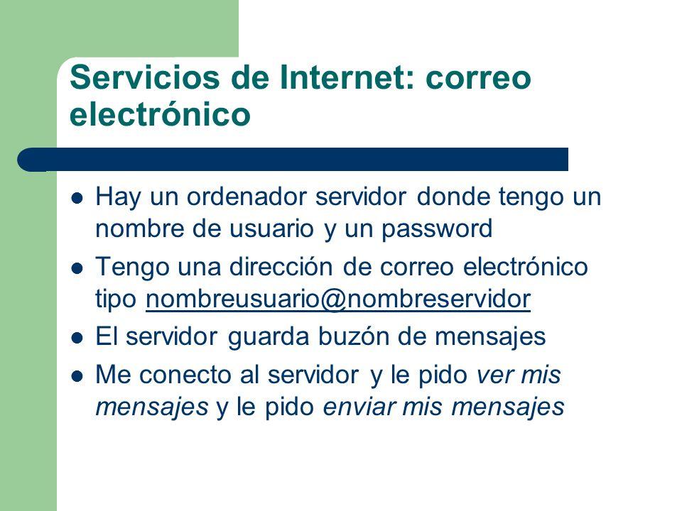 Servicios de Internet: correo electrónico