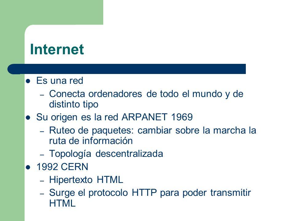 Internet Es una red. Conecta ordenadores de todo el mundo y de distinto tipo. Su origen es la red ARPANET 1969.