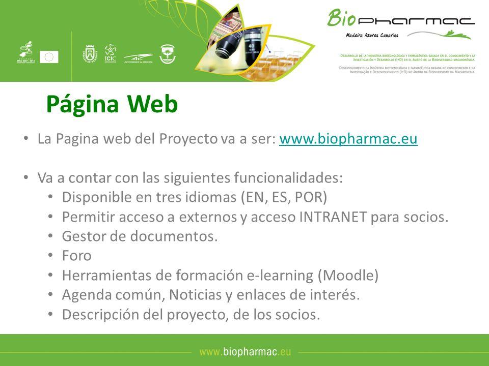 Página Web La Pagina web del Proyecto va a ser: www.biopharmac.eu
