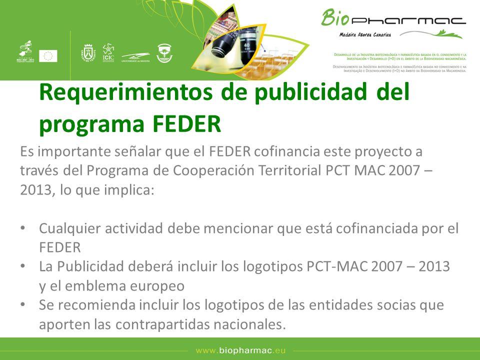 Requerimientos de publicidad del programa FEDER