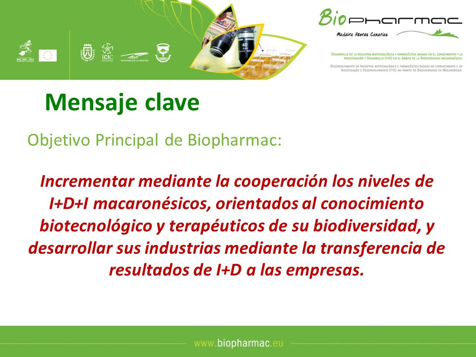 Mensaje clave Objetivo Principal de Biopharmac: