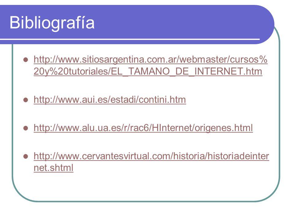 Bibliografía http://www.sitiosargentina.com.ar/webmaster/cursos%20y%20tutoriales/EL_TAMANO_DE_INTERNET.htm.