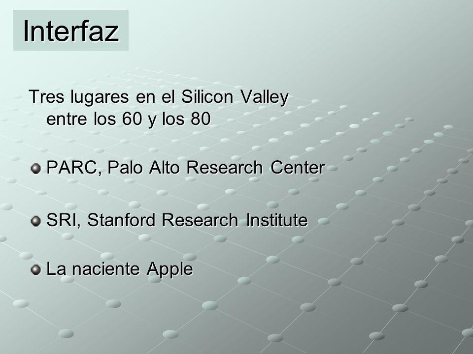 Interfaz Tres lugares en el Silicon Valley entre los 60 y los 80