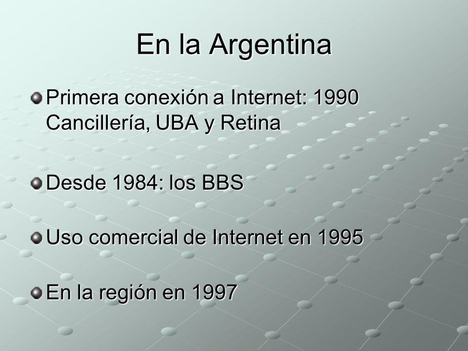 En la Argentina Primera conexión a Internet: 1990 Cancillería, UBA y Retina. Desde 1984: los BBS. Uso comercial de Internet en 1995.