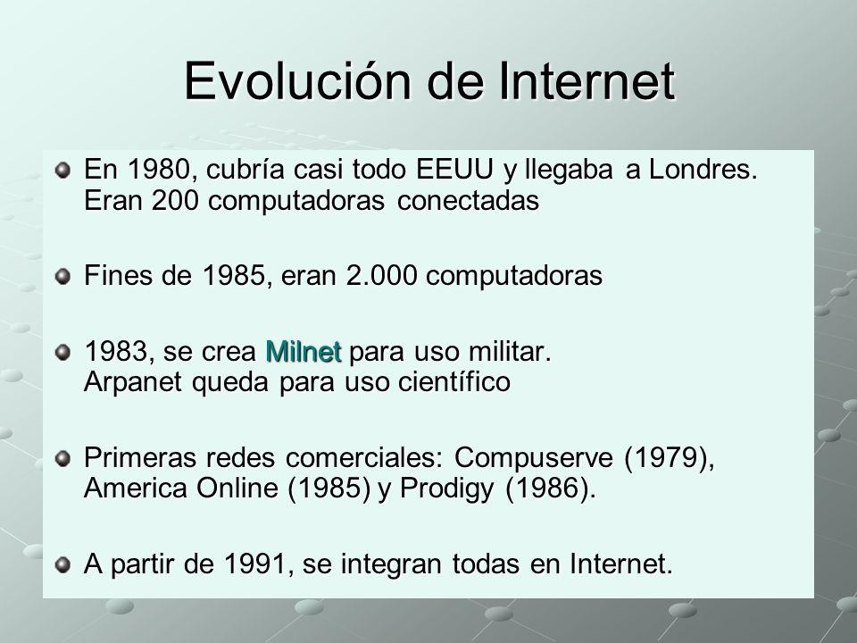 Evolución de Internet En 1980, cubría casi todo EEUU y llegaba a Londres. Eran 200 computadoras conectadas.