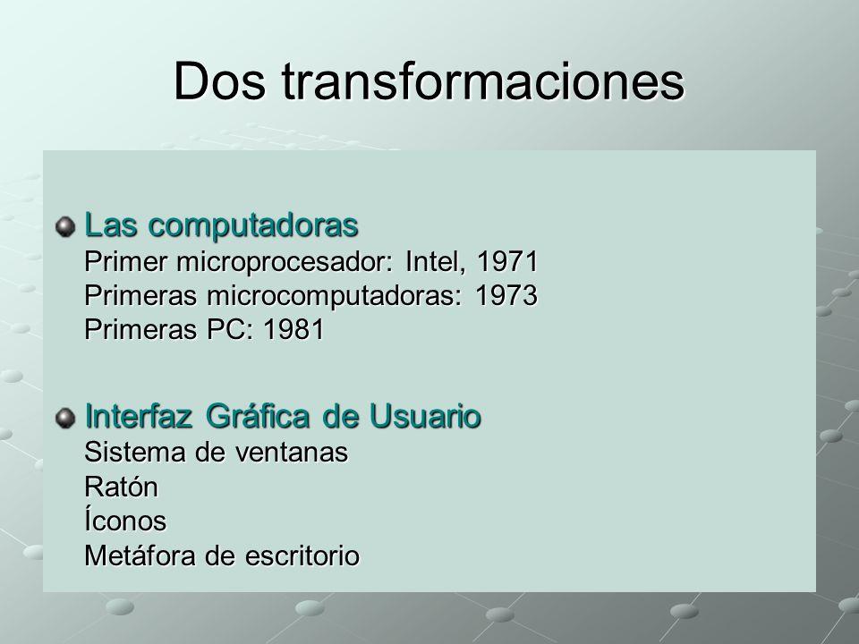 Dos transformaciones Las computadoras Primer microprocesador: Intel, 1971 Primeras microcomputadoras: 1973 Primeras PC: 1981.
