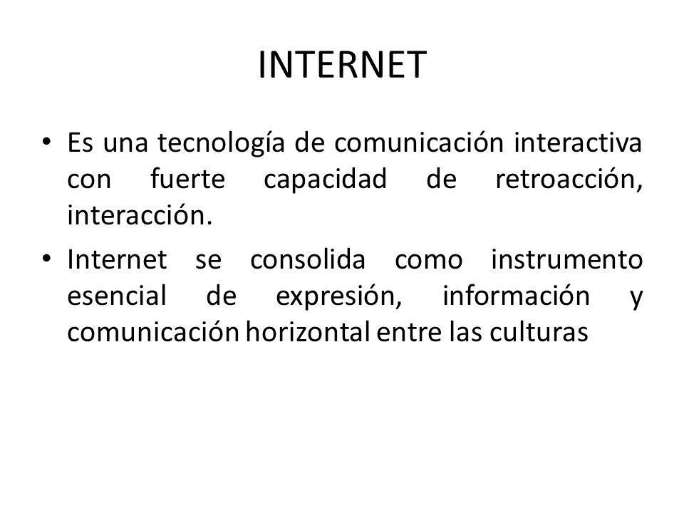 INTERNET Es una tecnología de comunicación interactiva con fuerte capacidad de retroacción, interacción.