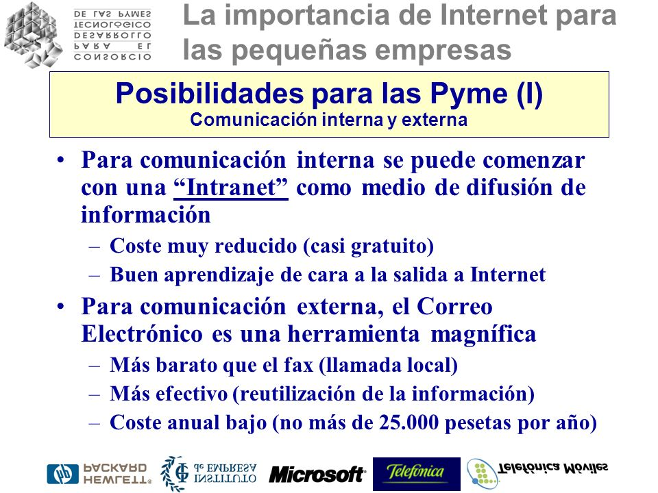 Posibilidades para las Pyme (I) Comunicación interna y externa