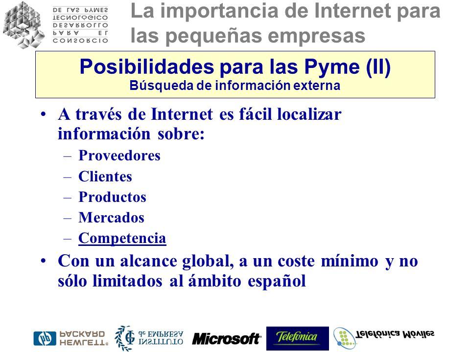 Posibilidades para las Pyme (II) Búsqueda de información externa