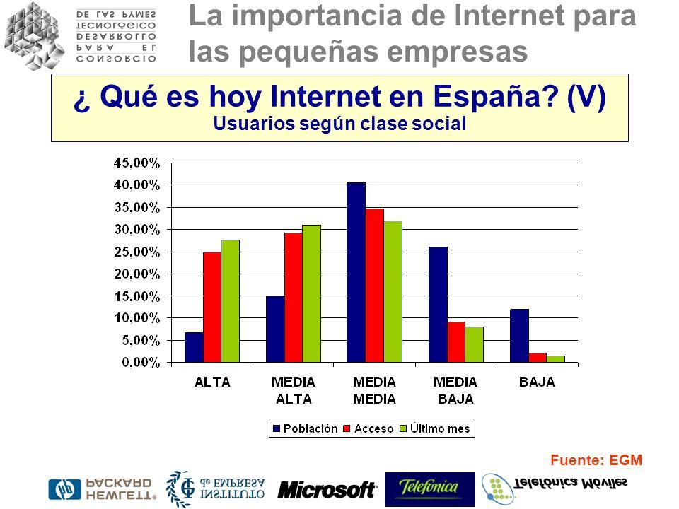 ¿ Qué es hoy Internet en España (V) Usuarios según clase social