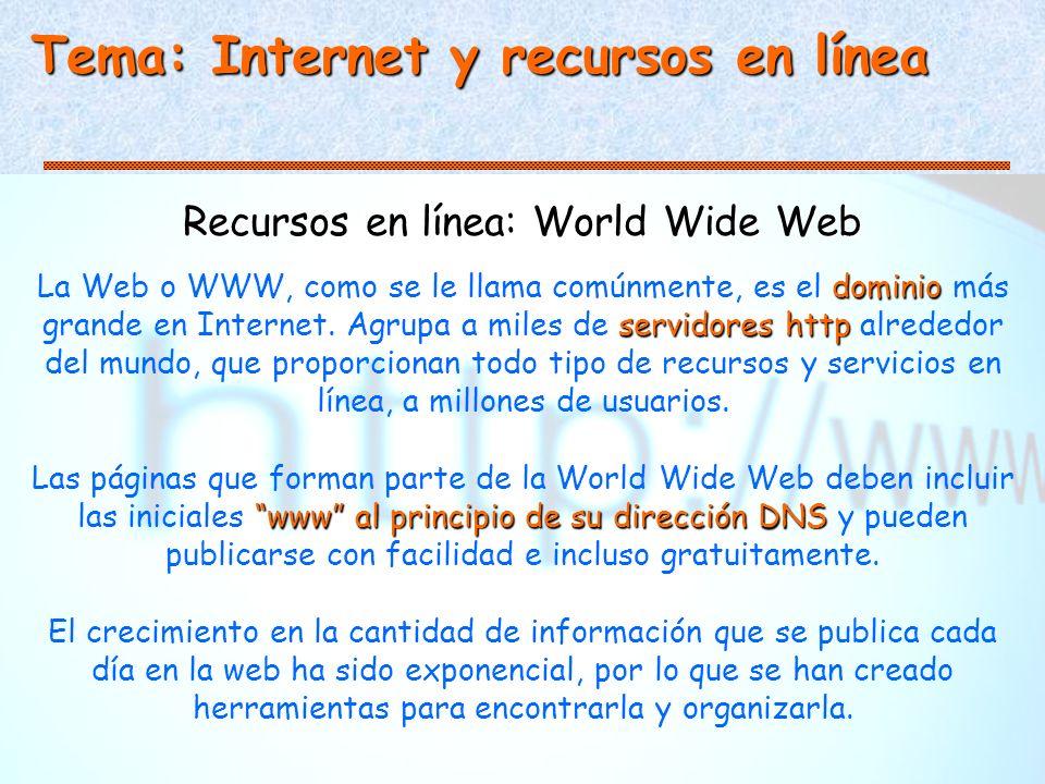 Recursos en línea: World Wide Web