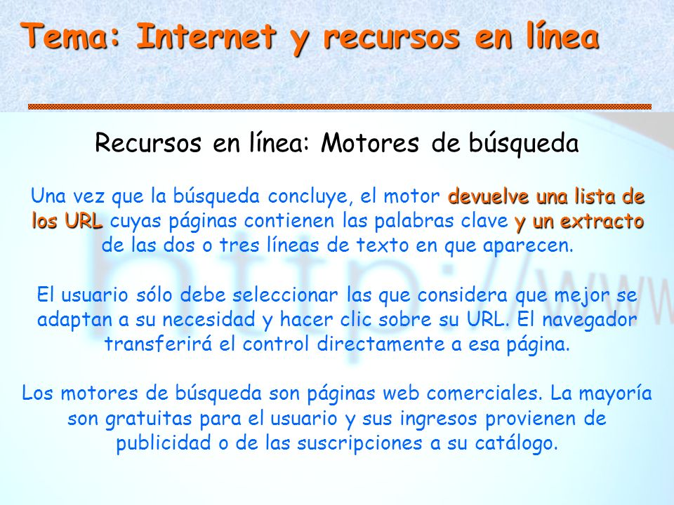 Recursos en línea: Motores de búsqueda