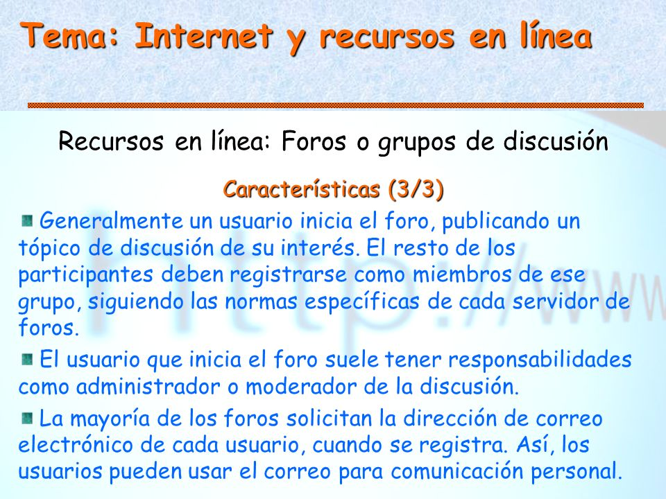Recursos en línea: Foros o grupos de discusión