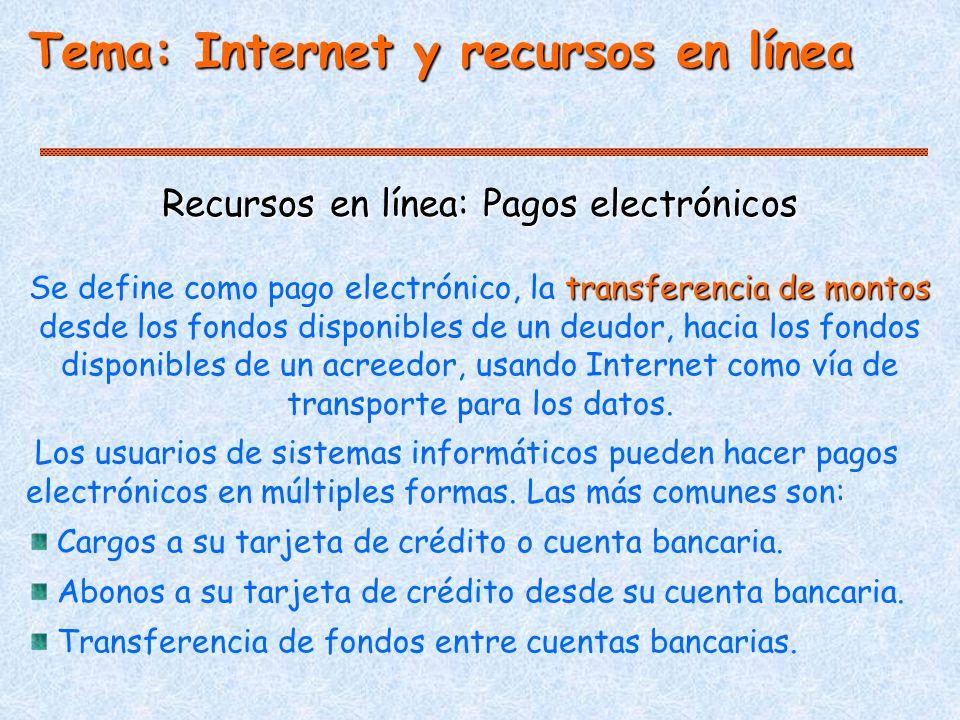 Recursos en línea: Pagos electrónicos