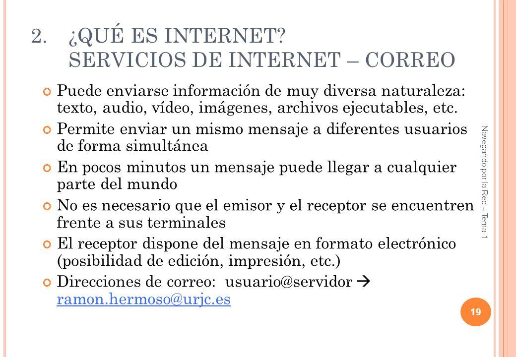 ¿QUÉ ES INTERNET SERVICIOS DE INTERNET – CORREO
