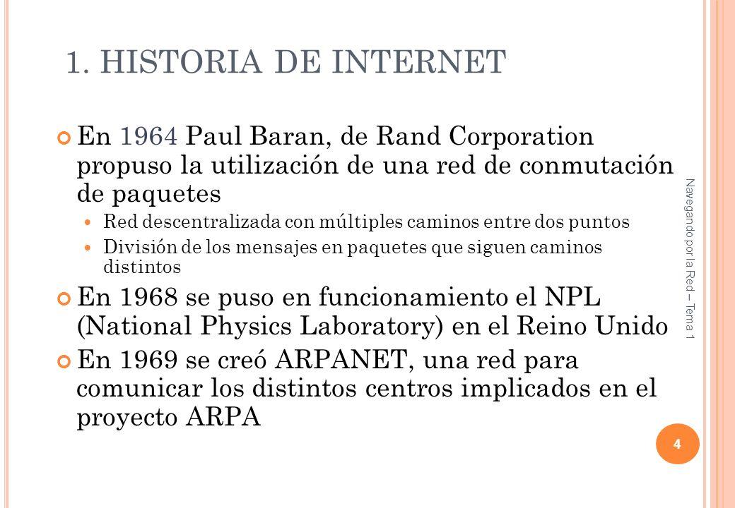 Tema 0 1. HISTORIA DE INTERNET. En 1964 Paul Baran, de Rand Corporation propuso la utilización de una red de conmutación de paquetes.