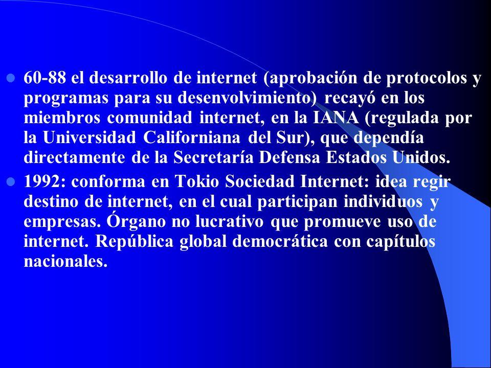60-88 el desarrollo de internet (aprobación de protocolos y programas para su desenvolvimiento) recayó en los miembros comunidad internet, en la IANA (regulada por la Universidad Californiana del Sur), que dependía directamente de la Secretaría Defensa Estados Unidos.