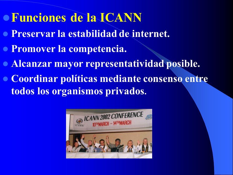 Funciones de la ICANN Preservar la estabilidad de internet.