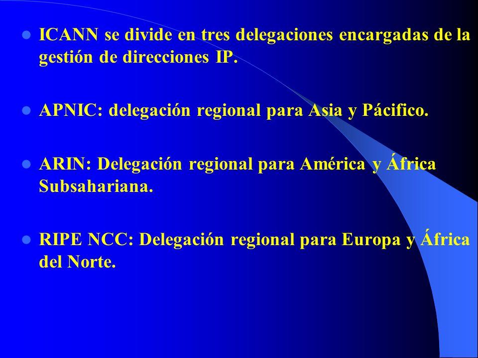 ICANN se divide en tres delegaciones encargadas de la gestión de direcciones IP.