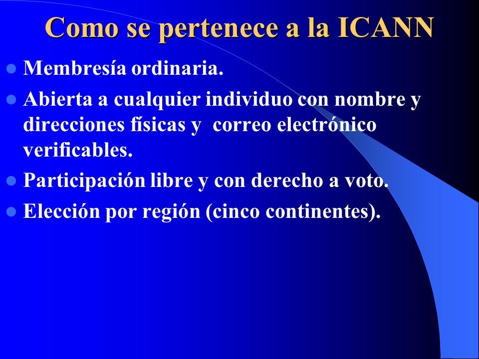 Como se pertenece a la ICANN