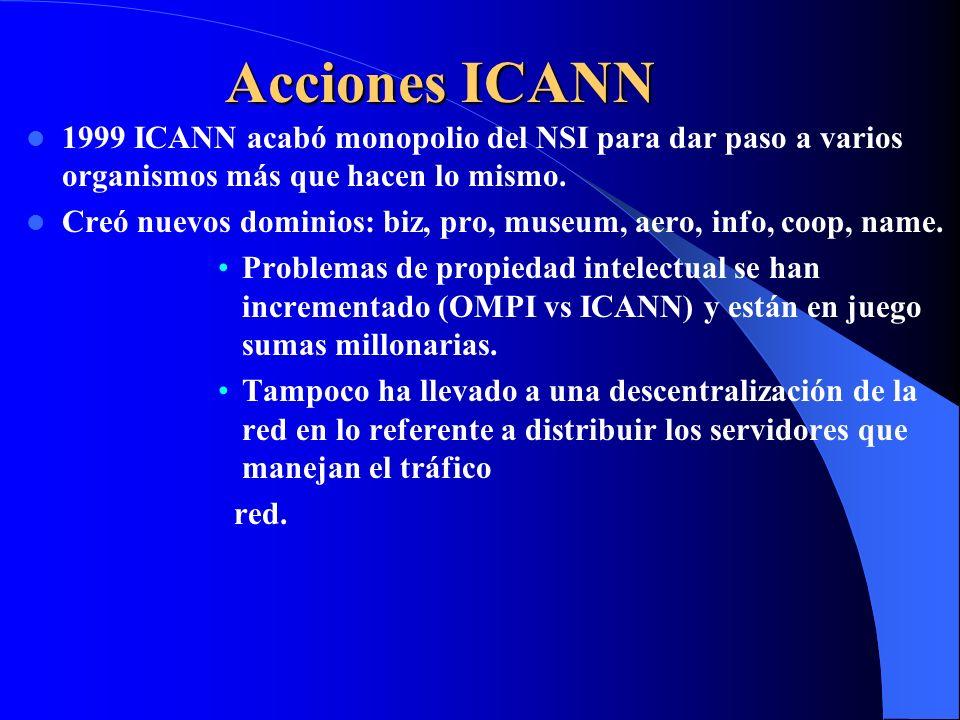 Acciones ICANN 1999 ICANN acabó monopolio del NSI para dar paso a varios organismos más que hacen lo mismo.