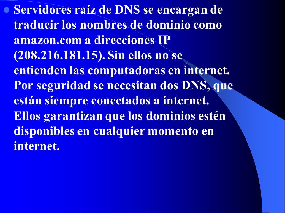 Servidores raíz de DNS se encargan de traducir los nombres de dominio como amazon.com a direcciones IP (208.216.181.15).
