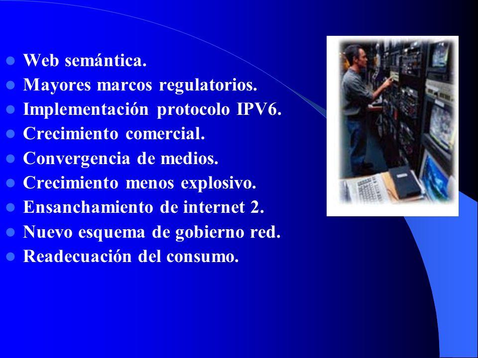 Web semántica. Mayores marcos regulatorios. Implementación protocolo IPV6. Crecimiento comercial.