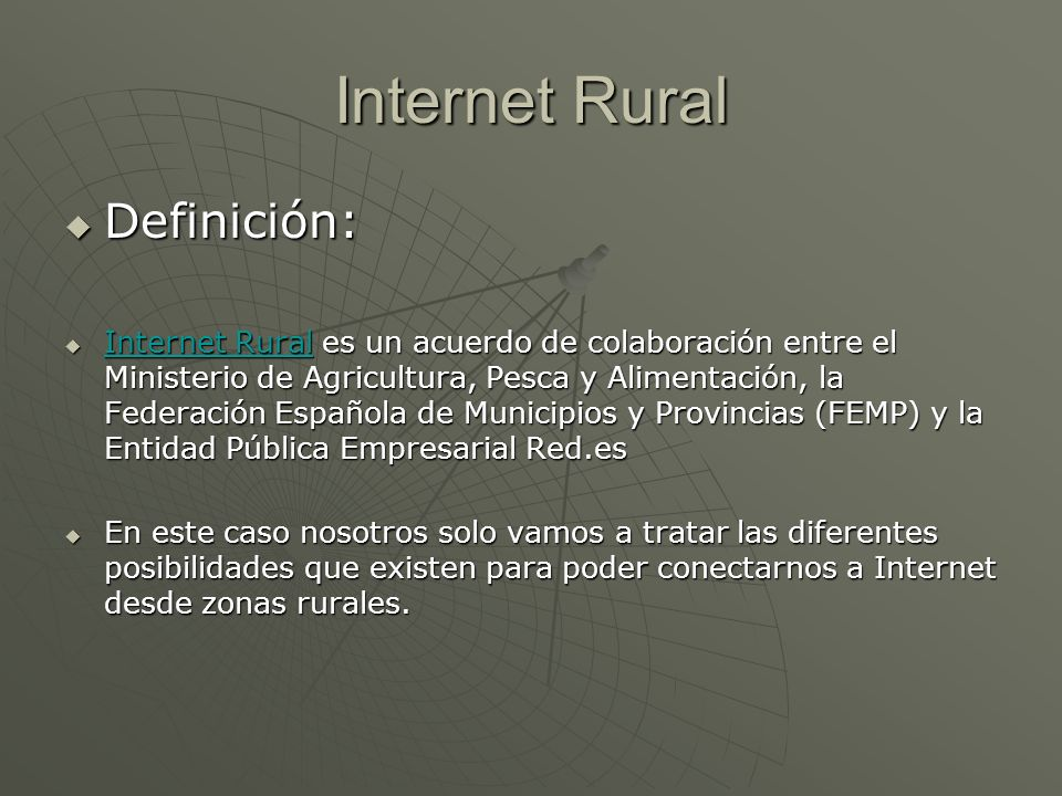 Internet Rural Definición: