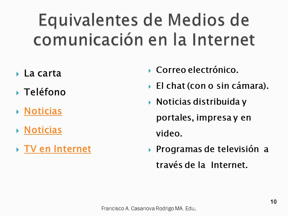 Equivalentes de Medios de comunicación en la Internet