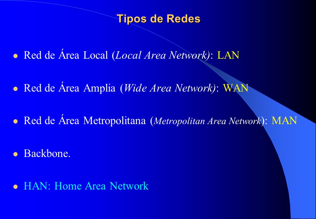 Tipos de Redes Red de Área Local (Local Area Network): LAN. Red de Área Amplia (Wide Area Network): WAN.