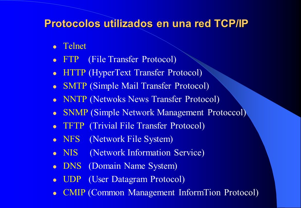 Protocolos utilizados en una red TCP/IP