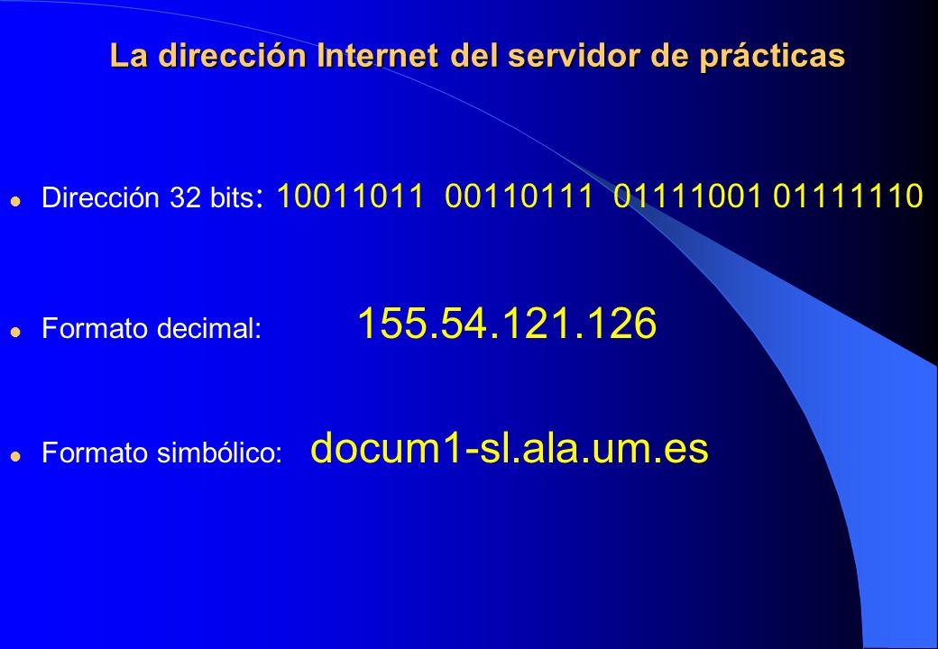 La dirección Internet del servidor de prácticas