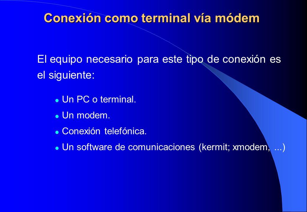Conexión como terminal vía módem
