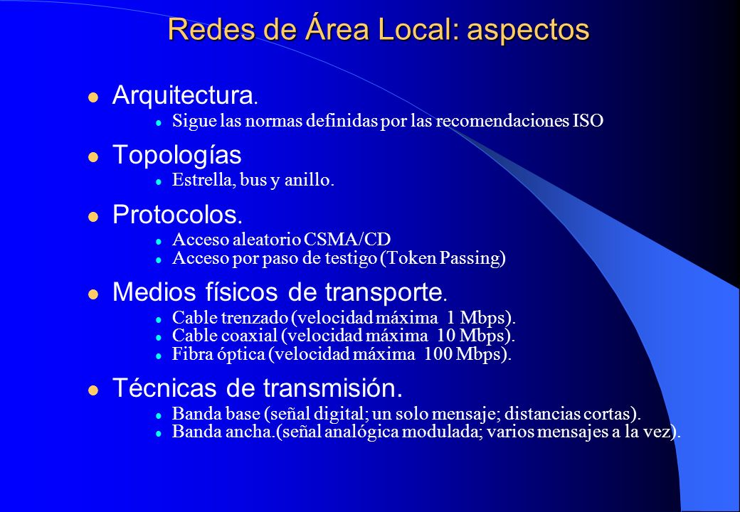 Redes de Área Local: aspectos