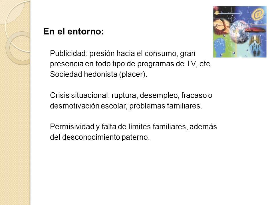 En el entorno: Publicidad: presión hacia el consumo, gran presencia en todo tipo de programas de TV, etc.
