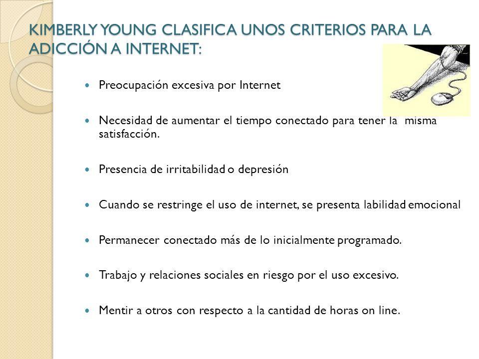 KIMBERLY YOUNG CLASIFICA UNOS CRITERIOS PARA LA ADICCIÓN A INTERNET: