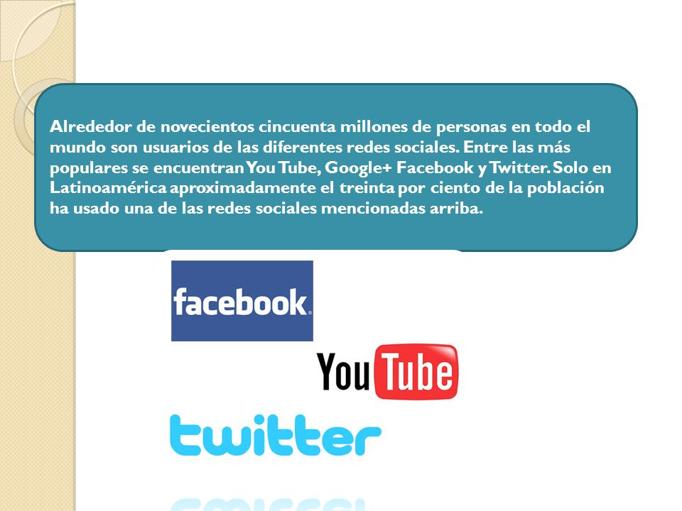 Alrededor de novecientos cincuenta millones de personas en todo el mundo son usuarios de las diferentes redes sociales.