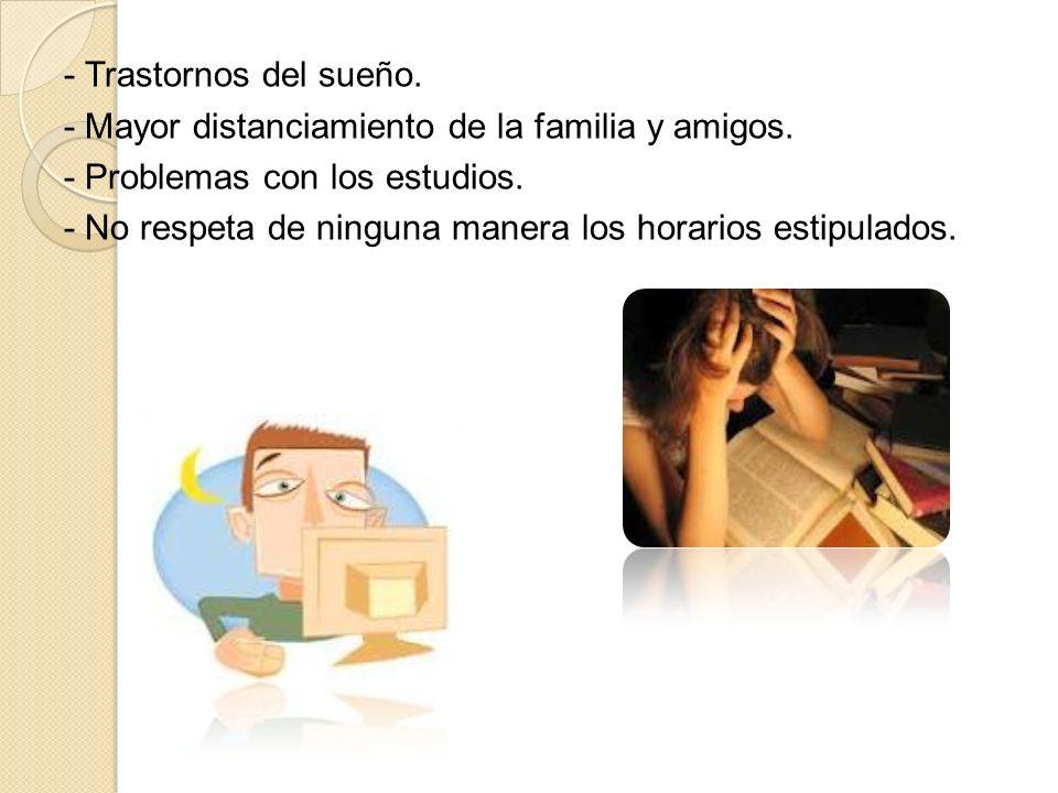 - Trastornos del sueño. - Mayor distanciamiento de la familia y amigos. - Problemas con los estudios.