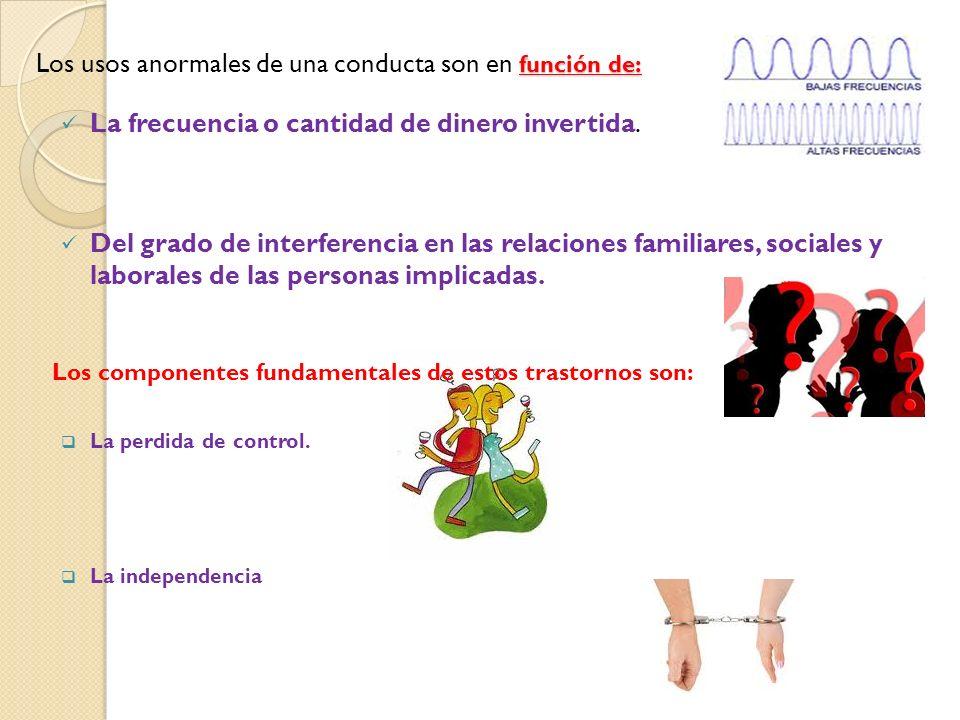 Los usos anormales de una conducta son en función de: