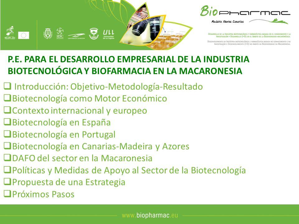 P.E. PARA EL DESARROLLO EMPRESARIAL DE LA INDUSTRIA BIOTECNOLÓGICA Y BIOFARMACIA EN LA MACARONESIA