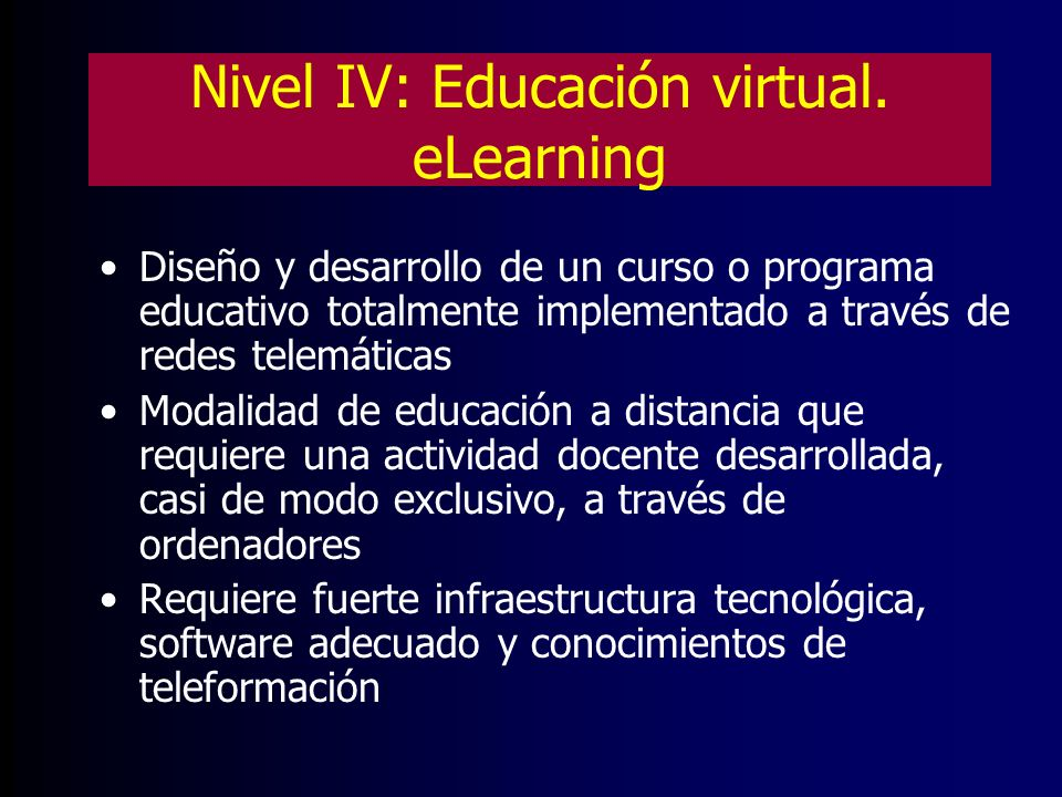 Nivel IV: Educación virtual. eLearning
