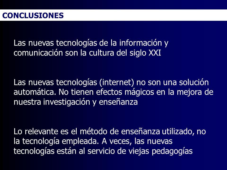 CONCLUSIONES Las nuevas tecnologías de la información y comunicación son la cultura del siglo XXI.