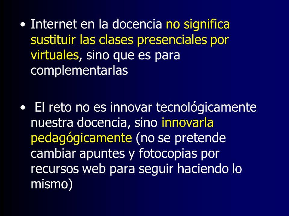 Internet en la docencia no significa sustituir las clases presenciales por virtuales, sino que es para complementarlas