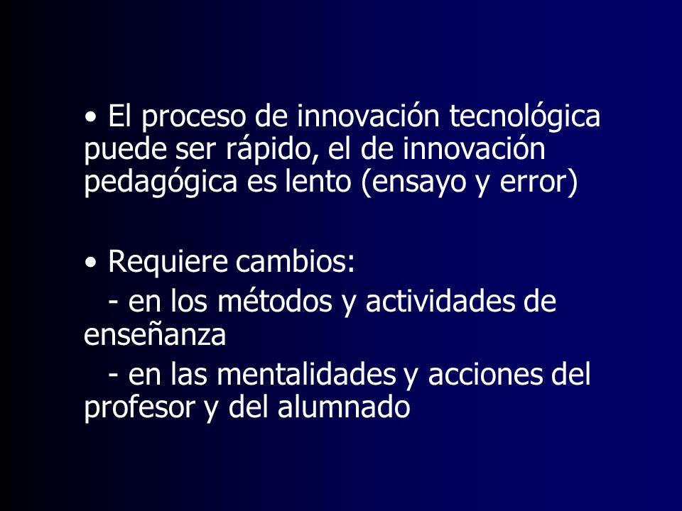 El proceso de innovación tecnológica puede ser rápido, el de innovación pedagógica es lento (ensayo y error)
