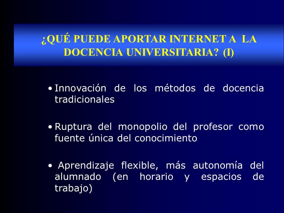 ¿QUÉ PUEDE APORTAR INTERNET A LA DOCENCIA UNIVERSITARIA (I)