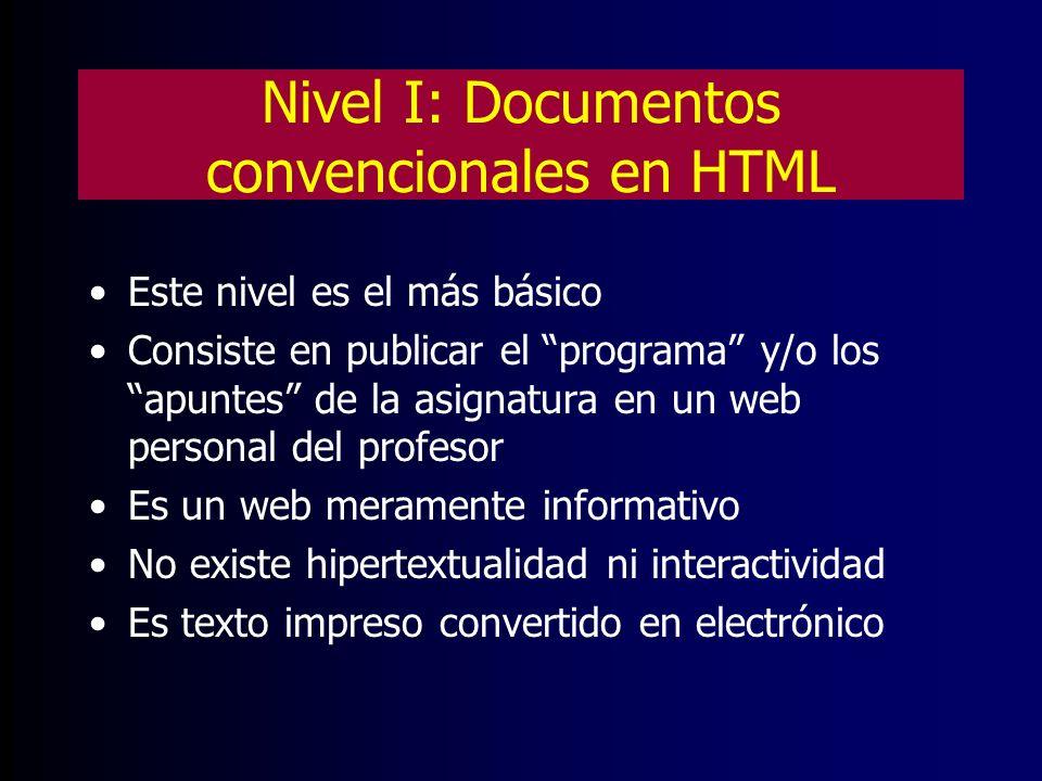 Nivel I: Documentos convencionales en HTML