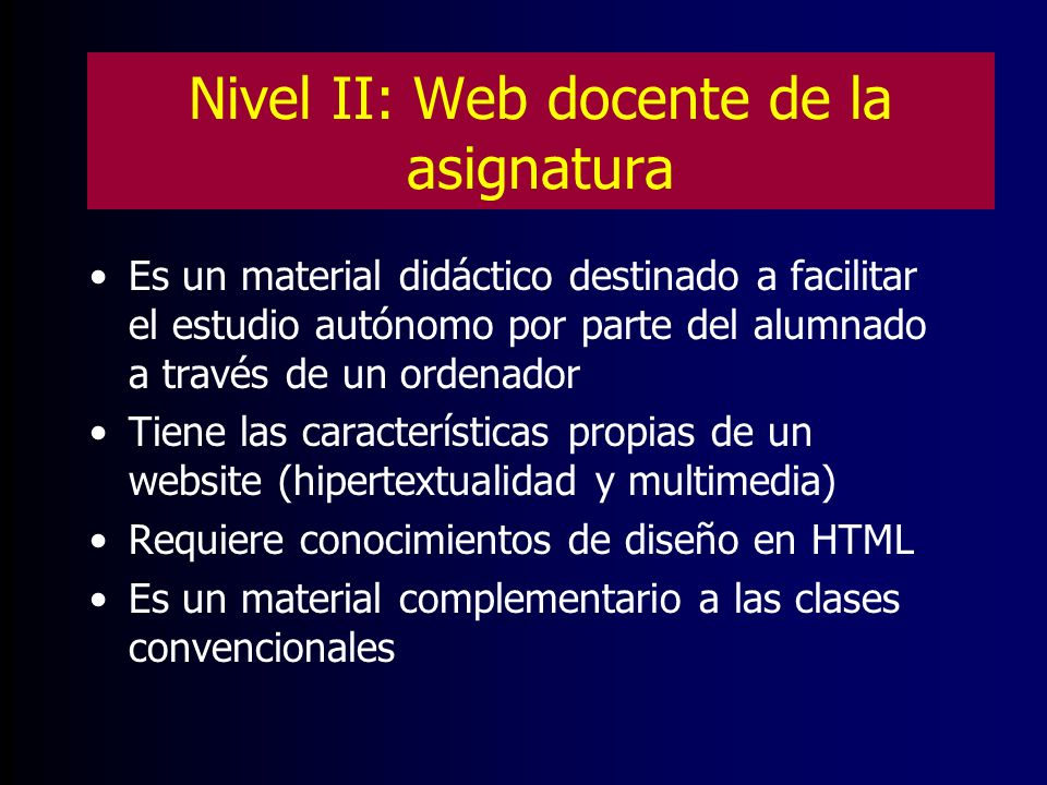 Nivel II: Web docente de la asignatura
