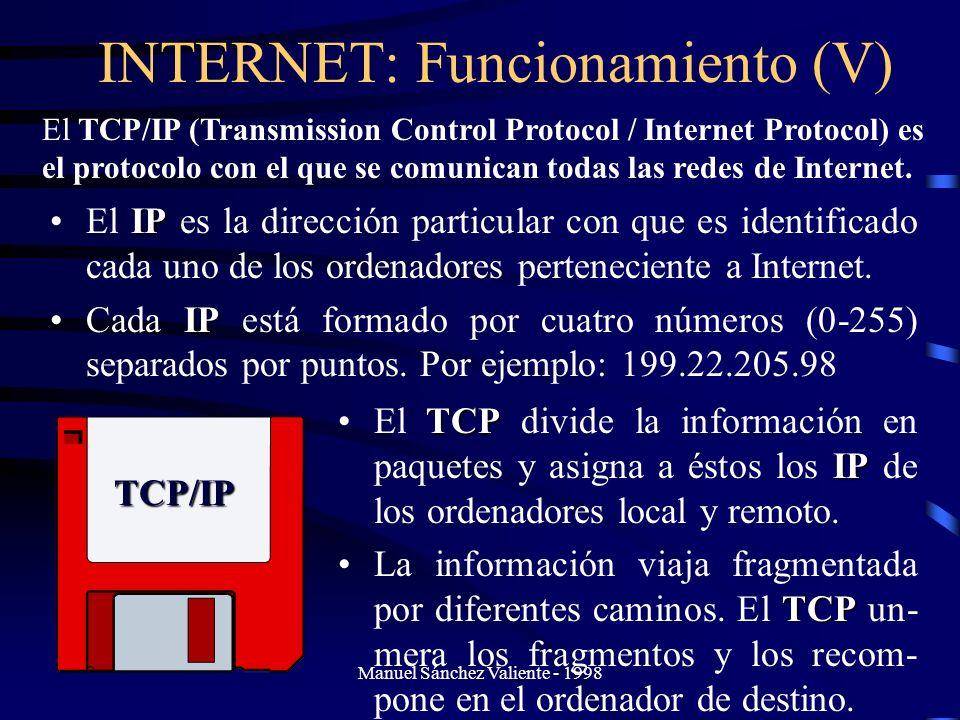 INTERNET: Funcionamiento (V)