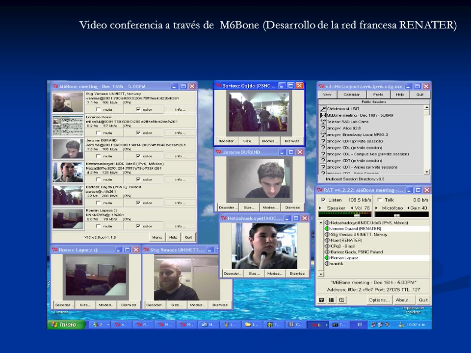 Video conferencia a través de M6Bone (Desarrollo de la red francesa RENATER)